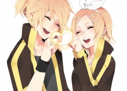 Happy, Kagamine Len, Kagamine Rin, Vocaloid, Closed Eyes, Mirunal, Blonde Hair, Duo, Earrings, Female, Hair Bow, Hair Clip, Heart, Heart Gesture, Jewelry, Lipstick, Male, Nail Polish, Open Mouth, Ponytail, Return To Zero, Ring, Short Hair, Twins, Kagamine Twins