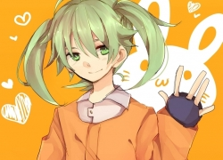 Fey Rune, Pixiv Id 2277453, Smile, Inazuma Eleven, Pixiv, Inazuma Eleven Go: Chrono..., Fanart From Pixiv, Fanart, Twin Tails, Trap, Solo, Orange Background, Male, Jacket, Heart, Green Hair, Green Eyes, Closed Mouth, Blush, Inazuma Eleven GO