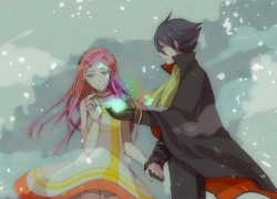 Dominic Sorel, Pink Hair, Short Hair, Snow, Winter, Long Hair, Female, Duo, Dress, Cape, Anemone, Eureka Seven