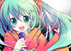 Emirio, Vocaloid, Green Eyes, Heart, Heart Line, Long Hair, Microphone, Open Mouth, Singer, Solo, Teal Hair, Twin Tails, Fanart, Pixiv, Hatsune Miku, Alternate Outfit, Aqua Eyes, Female