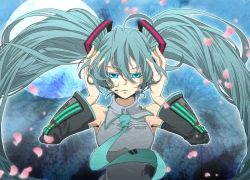 Vocaloid, Twin Tails, Tie, Thigh Highs, Skirt, Long Hair, Headphones, Female, Blue Hair, Blue Eyes, Aqua Eyes, Hatsune Miku