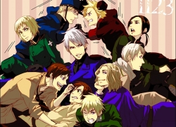 Axis Powers: Hetalia, China, France, Prussia, Russia, Spain, Studio Deen, Sweden, United Kingdom, Mediterranean Countries, Nordic Countries, Bad Trio, Axis Power Countries, Asian Countries, Allied Forces, White hair, Short Hair, Red Eyes, Purple Eyes, Male, Ponytail, Long Hair, Green Eyes, Glasses, Brown Hair, Blonde Hair, Albino, Ahoge, Switzerland, South Italy, Denmark