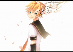 Flower, Kagamine Len, Vocaloid, Blonde Hair, Aqua Eyes, Solo, Male, Detached Sleeves, Cherry Blossom