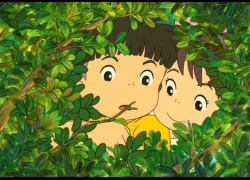 Sousuke, Studio Ghibli, Gake no Ue no Ponyo, Brown Hair, Bushes, Child, Duo, Female, Leaves, Male, Short Hair, Screenshot