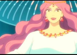Granmamare, Studio Ghibli, Gake no Ue no Ponyo, Diadem, Earrings, Female, Jewelry, Lipstick, Long Hair, Necklace, Red Hair, Solo, Screenshot