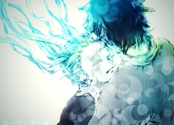 Hiyama Kiyoteru, Vocaloid, 1024x768 Wallpaper, Aqua Eyes, Black Hair, Blue Eyes, Blue Hair, Crying, Female, Glasses, Hug, Injury, Long Hair, Male, Teal Hair, Twin Tails, Wallpaper 4:3 Ratio, Rolling Girl, Wallpaper, Ohagi (Ymnky), Hatsune Miku