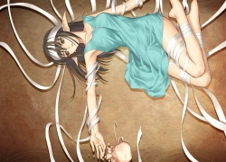 Shining Tears, Tony Taka, Xecty Ein, Bandages, Barefoot, Black Eyes, Black Hair, Elf, Female, Laying Down, Long Hair, Pointy Ears
