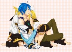 Kagamine Len, Kagamine Rin, Vocaloid, Trio, Twins, Kagamine Twins, Kaito, Barefoot, Blonde Hair, Blue Hair, Female, Hug, Male, Midriff, Short Hair, Shorts, Threesome