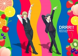 Shizuo Heiwajima, Mammal Ayu, Izaya Orihara, Durarara!!, Black Hair, Blonde Hair, Cigarette, Dancing, Duo, Gold Eyes, Male, Short Hair, Smoking, Two Males, Fanart, Pixiv
