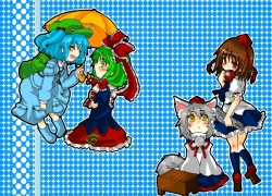 Inubashiri Momiji, Kagiyama Hina, Kawashiro Nitori, Shameimaru Aya, Touhou, Blue Hair, Bows (Fashion), Brown Hair, Female, Green Hair, Hair Bow, Kemonomimi, Long Hair, Okamimimi, Short Hair, Tail, White hair, Zun
