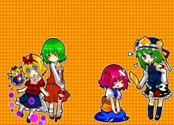 Alice Margatroid, Kazami Yuuka, Medicine Melancholy, Onozuka Komachi, Shanghai, Shikieiki Yamaxanadu, Touhou, Zun, Blonde Hair, Doll, Female, Green Hair, Hat, Long Hair, Short Hair