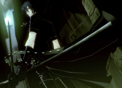 Nitro+CHiRAL, Smile, Togainu No Chi, Gloves, CG Art, Wallpaper, 800x600 Wallpaper, Back, Black Outfit, Cross, Jacket, Jewelry, Katana, Leather Clothes, Leather Jacket, Looking Back, Necklace, Smirk, Standing, Sword, Wallpaper 4:3 Ratio, Weapons