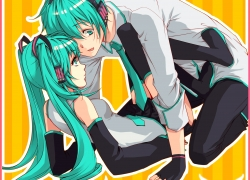 Vocaloid, Gloves, Hatsune Miku, Boots, Gender Bending, Green Eyes, Green Hair, Headphones, Long Hair, Male, Multiple Persona, Pants, Short Hair, Silver&wing, Skirt, Tie, Twin Tails