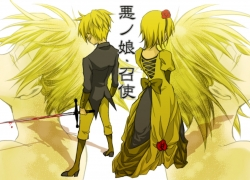 Flower, Kagamine Len, Kagamine Rin, Vocaloid, Alternate Outfit, Blonde Hair, Blood, Dress, Duo, Female, Male, Rose, Siblings, Suit, Sword, Twins, Story Of Evil, Kagamine Twins