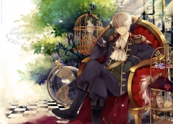 Axis Powers: Hetalia, Gilbird, Prussia, Saiyki, Smile, Studio Deen, 1024x768 Wallpaper, Albino, Animal, Bird, Black Footwear, Boots, Cage, Cape, Chair, Crossed Legs, Epaulettes, Globe, Hat, Hat Off, Little Yellow Bird, Male, Military Uniform, Pants, Red Eyes, Short Hair, Sitting, Solo, Tree, Uniform, Wallpaper 4:3 Ratio, White hair, Pixiv, Wallpaper, Germanic Countries
