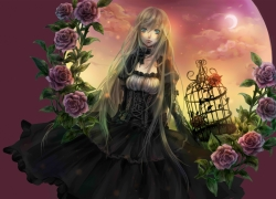 Flower, Senano Yu, Dress, Female, Long Hair, Looking Away, Moon, Multi-colored Background, Rose, Sky, Sun, Sunset, Pixiv, Black Dress, Black Outfit, Blonde Hair, Blue Eyes, Blush, Cage, Crescent Moon