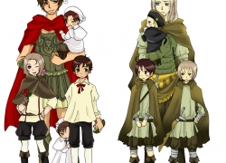 Austria, Axis Powers: Hetalia, Chibimano, Flower, France, Germany, North Italy, Smile, Spain, Studio Deen, Holy Roman Empire, Rome, South Italy, Switzerland, Ahoge, Black Hair, Blonde Hair, Braids, Brown Hair, Child, Crossdressing, Family, Glasses, Green Eyes, Group, Male, Rose, Short Hair, Simple Background, Sword, Weapons, White Background, Wink, Allied Forces, Mediterranean Countries, Chibitalia, Germania