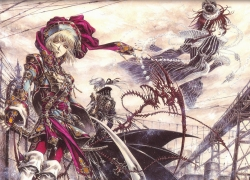 Thores Shibamoto, THORES Shibamoto, Trinity Blood, Abel Nightroad, Esther Blanchett, Ion Fortuna, Blonde Hair, Blue Eyes, Female, Glasses, Gray Hair, Long Hair, Male, Queen, Red Eyes, Red Hair, Short Hair, Vampire