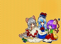 Fujiwara No Mokou, Hieda No Akyuu, Kamishirasawa Keine, Touhou, Zun, 800x600 Wallpaper, Albino, Book, Bows (Fashion), Female, Long Hair, Purple Hair, Scroll, Wallpaper 4:3 Ratio, White hair, Wallpaper