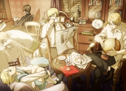 Axis Powers: Hetalia, Canada, Happy, Kumajirou, Mochimerica, Studio Deen, United Kingdom, United States, School Uniform, Newspaper, Nunchaku, Paper, Quintet, Rifle, Shoes, Short Hair, Silverware, Sitting, Socks, Spiky Hair, Table, Tea, Teacup, Tie, Watch, Weapons, White Socks, Hachi (Pixiv 934633), Hong Kong, Sealand, Ahoge, Black Hair, Blonde Hair, Blue Eyes, Book, Brown Hair, Chair, Clock, Duangua, Five Males, Glasses, Globe, Gun, Key Chains, Male, Mochi
