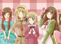 Axis Powers: Hetalia, Smile, Studio Deen, Vietnam, Belarus, Belgium, Hungary, Liechtenstein, Seychelles, Taiwan, Ukraine, Ahoge, Animal, Blonde Hair, Blue Dress, Blue Eyes, Blue Outfit, Brown Hair, Curls, Dark Skin, Dress, Female, Fish, Group, Hair Bow, Headband, Long Hair, Maid Outfit, Military Uniform, Pink Dress, Pink Outfit, Ponytail, Short Hair, Tie, Uniform, White hair, Wink
