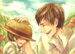 Axis Powers: Hetalia, Spain, Studio Deen, Closed Eyes, Hand On Hat, Two Males, Ahoge, Hat, Straw Hat, South Italy, Brown Hair, Duo, Male, Side View, Tomato, Tomato Plant