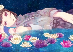 Flower, Purple Eyes, Short Hair, Original, Furai, Hair Flower, Night, Sky, Stars (Sky), Pixiv, Brown Hair, Laying Down, Lotus, Night Sky, On Side, Solo, Water