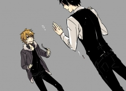 Shizuo Heiwajima, Izaya Orihara, Smile, Cigarette, Cosplay, Duo, Glasses, Male, Smoking, Black Hair, Short Hair, Sunglasses, Vein Pop, Durarara!!, Alternate Outfit, Angry, Blonde Hair, Brown Hair, Outfit Switch, Pants, Simple Background, Switchblade, Two Males