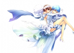 Meiko, Vocaloid, Gloves, Brown Hair, Scarf, Couple, Shoes, Wedding Dress, Blue Hair, Dress, Female, Lap Pillow, Male, Short Hair, Wedding, White Dress, Kaito, Alternate Outfit