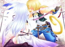 Final Fantasy IX, Kuja, Minatosaiga, Square Enix, Zidane Tribal, Male, Long Hair, Tail, Blonde Hair, Gray Hair