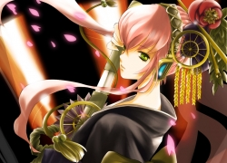 Flower, Jun Can, Luka Megurine, Vocaloid, Japanese Clothes, Kimono, Long Hair, Petal, Weapons, 800x600 Wallpaper, Dye Music, Green Eyes, Pink Hair, Sword, Fanart, Blue Eyes, Female, Headdress, Headphones, Sad, Solo, Traditional Clothes, Wallpaper 4:3 Ratio, Pixiv, Wallpaper, Cherry Blossom