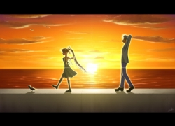 Misuzu Kamio, Yukito Kunisaki, Water, Bird, Blonde Hair, Ponytail, Air, Clouds, Hair Bow, Short Hair, Sunset, Key (Studio), Crow, Female, Long Hair, Male, Sky, Sun