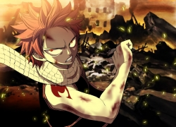 Flamebier, Hiro Mashima, Tattoo, Fairy Tail, Colorization, Natsu Dragneel, Scarf, Fire, Male, Solo, Spiky Hair
