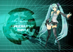 Happy, Vocaloid, Twin Tails, Headphones, Thigh Highs, Female, Long Hair, Skirt, Tie, Blue Eyes, Hatsune Miku, Blue Hair