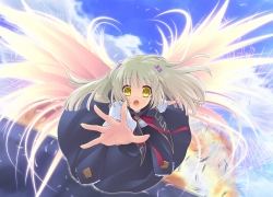 Noizi Ito, Yukishiro Suzuno, Wings, CG Art, Solo, White hair, Surprised, Tie, White Wings, Bows (Fashion), Bracelet, Clouds, Ribbon, Flyable Heart, Dress, Gold Eyes, Sky, Blonde Hair, Falling, Female, Hair Clip, Long Hair, Noizi Ito, Angel, Bangs, Blue Outfit, Bow Tie, Feather Wings, Fireworks, Flying, Hold Out Hand, Jewelry, Long Sleeves, Open Mouth