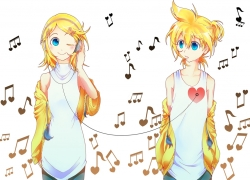 Kagamine Len, Kagamine Rin, Vocaloid, Alternate Outfit, Male, Twins, Headphones, Duo, Kagamine Twins, Wires, Siblings, Music, Female, Blue Eyes, Blonde Hair