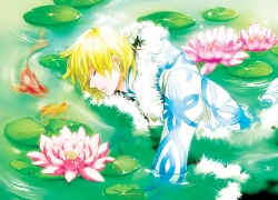 Astro-g, Fay D. Flourite, Flower, Tsubasa: RESERVoir CHRoNi..., Sleeping, Solo, Short Hair, Lotus, Fish, 2000x1500 Wallpaper, Wallpaper 4:3 Ratio, Male, Lily Pads, Goldfish, Closed Eyes, Blonde Hair, Water