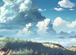 5 Centimeters per Second, 1280x720 Wallpaper, Clouds, Wallpaper, Field, Scenery, Makoto Shinkai, Grass, No People, Sky, Widescreen 16:9 Ratio