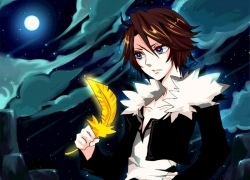 Final Fantasy VIII, Squall Leonhart, Square Enix, Dissidia, Male, Moon, Night, Blue Eyes, Short Hair, Brown Hair, Feather, Sky