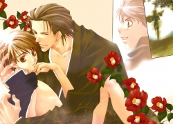 Camellia, Flower, Matsumoto Temari, Yaoi, Two Males, Red Flower, Male, Kimono, Japanese Clothes, Duo, Traditional Clothes