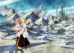 Wings, Blonde Hair, Cat, Spiky Hair, Lucy Heartfilia, Closed Eyes, Male, Trio, Fairy Tail, Natsu Dragneel, Animal, Female, Flying, Pink Hair, Scarf, Screenshot