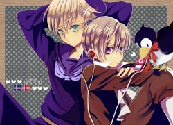 Axis Powers: Hetalia, Iceland, Norway, Relaxx, Studio Deen, Flag, Sitting, Ribbon, Male, White hair, Two Males, Siblings, Short Hair, Purple Eyes, Puffin, Music, Mp3 Player, Ipod, Heart, Family, Duo, Brothers, Aqua Eyes, Mr. Puffin, Blonde Hair, Bird