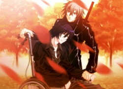 Nitro+CHiRAL, Smile, Togainu No Chi, Duo, Gray Hair, Tree, Holding Hands, Male, Black Outfit, Jacket, Leather Jacket, Red Eyes, Two Males, Wheelchair, Autumn, Black Hair, Blue Eyes, Chair, Katana, Leather Clothes, Leaves, Looking Away, Short Hair, Sitting, Standing, Sword, Weapons, Wheel, CG Art