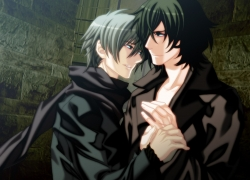 Nitro+CHiRAL, Smile, Togainu No Chi, Yaoi, CG Art, Wallpaper, 800x600 Wallpaper, Black Hair, Blue Eyes, Brown Hair, Gray Hair, Short Hair, Couple, Duo, Male, Scarf, Smirk, Two Males, Wallpaper 4:3 Ratio