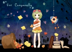 GUMI, Vocaloid, Animal, Campanella (vocaloid), Barefoot, Hourglass, Bird, Female, Little girl, Paper Airplane, Book, Child, Green Hair, Heart, Little Yellow Bird, Night, Short Hair, Artist Request