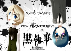 Two Males, Suit, Short Hair, Blonde Hair, Male, Ciel Phantomhive, Duo, Blue Eyes, Black Hair, Alois Trancy, Kuroshitsuji