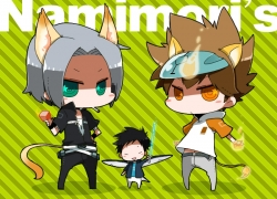 Hayato Gokudera, Tsunayoshi Sawada, Takeshi Yamamoto, Kemonomimi, Male, Sword, Closed Eyes, Gray Hair, Green Eyes, Nekomimi, Short Hair, Weapons, Brown Hair, Brown Eyes, Uri, Katekyo Hitman Reborn!