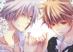 Hayato Gokudera, Tsunayoshi Sawada, School Uniform, Yaoi, Pinky Promise, Two Males, Fanart, Short Hair, Uniform, Duo, Gray Hair, Jewelry, Lace Background, Leaves, Male, Necklace, Senri (Qwerty), Katekyo Hitman Reborn!, Brown Hair, Couple