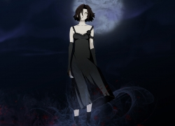 Fanart, Chane Laforet, Black Dress, Dress, Black Hair, Brown Hair, Female, Night, Baccano!, Black Outfit, Blood, Couple, Dagger, Gold Eyes, Moon, Short Hair, Solo