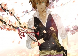Flower, Hakuouki Shinsengumi Kitan, Heisuke Toudou, Gloves, Fingerless Gloves, Green Eyes, Katana, Male, Petal, Ribbon, Short Hair, Solo, Sword, Weapons